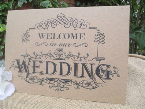 Welcome To Our Wedding Sign A4 Size Poster Shabby Chic