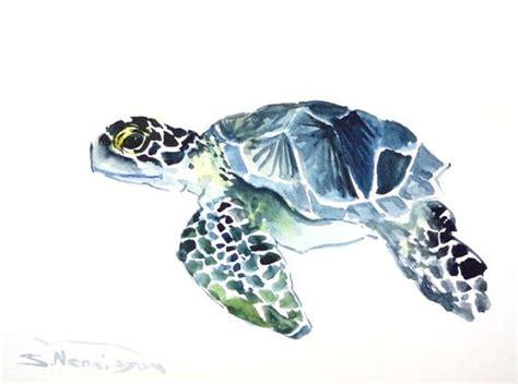 watercolor tattoo turtle sea turtle original watercolor painting 9 x 12 in