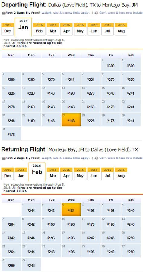 Southwest Calendar Southwest Calendar Low Fare Calendar Template 2016