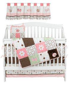 Pink Brown Flower Ladybug Theme 4 Piece Baby Girl Crib Pink And Brown Ladybug Crib Bedding