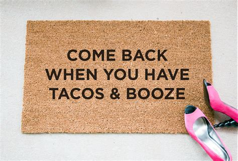 Mat About You by Tacos Booze Quote Doormat Doormat Welcome Mat