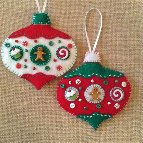 Handmade Felt Decorations - gingerbread felt ornaments handmade ornaments