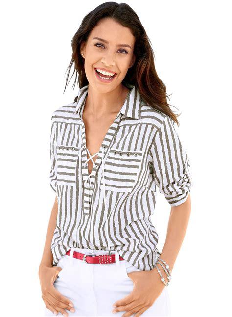 K Blouse s stripe sleeve lace up blouse roawe