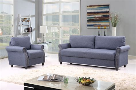 linen fabric sofa set living room furniture couch velvet 2pc linen fabric living room sofa armchair set w