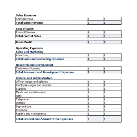 Business Plan Profit And Loss Template 19 Sle Profit And Loss Templates Sle Templates