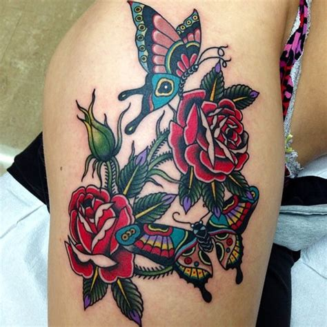 tattoo new school flower new school leg flower butterfly tattoo by marc nava