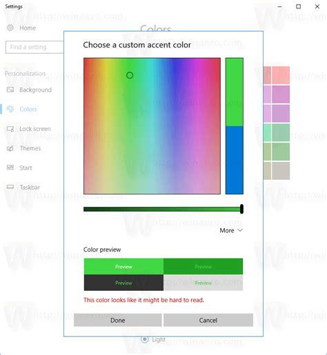 color picker windows set custom color for title bars and taskbar in windows 10