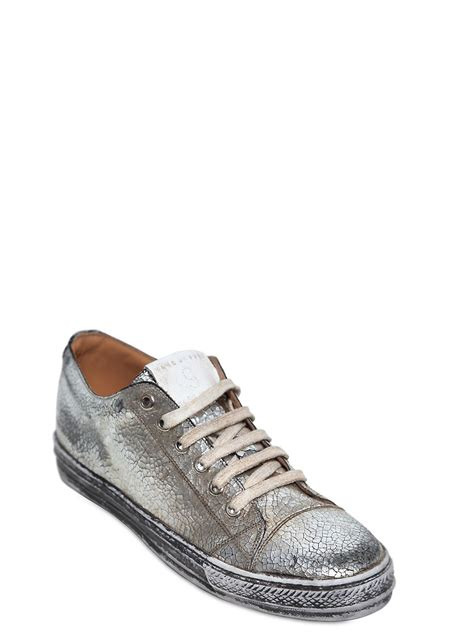 marc sneakers mens marc crepe metallic leather sneakers in silver for