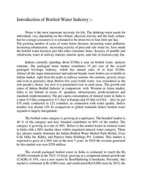 Safe Water Essay by A Study On Competition In The Bottled Water Industry In 2006