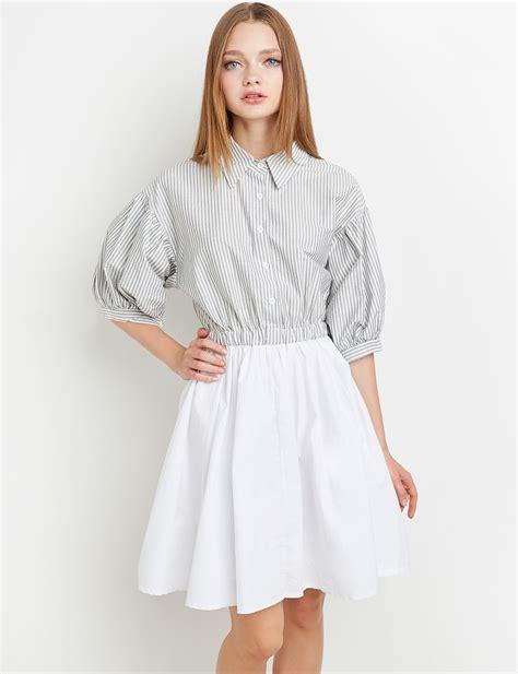 Striped Sleeve Dress grey stripe balloon sleeve shirt dress