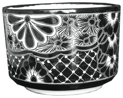black and white planters talavera outdoor or indoor cylinder planter black and white contemporary indoor pots and