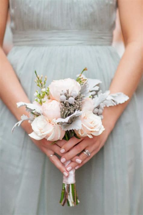 Wedding Flowers For And Bridesmaid by Soft Colored Bridesmaid Bouquet With Frosted Details By