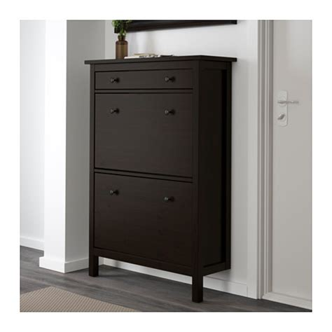 hemnes shoe cabinet with 2 compartments black brown ikea