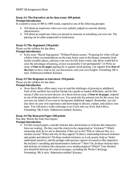 Narrative Essay Assignment by Ewrt 1 B Assignment Sheet