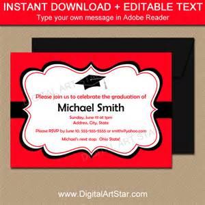 digital printable decor graduation invitations in and black