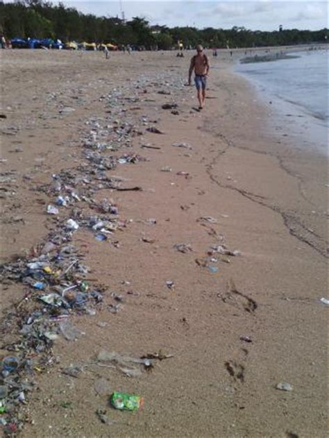 Acrylic Denpasar plastic garbage on the shoreline picture of kuta