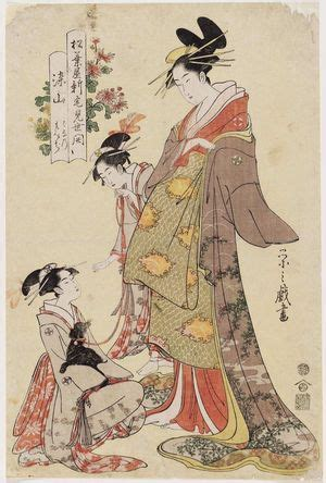 Hosoda Eishi: Someyama, kamuro Hanano and Momiji, from the