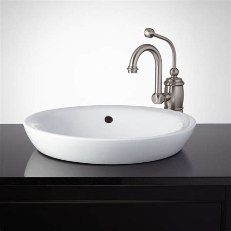 milforde porcelain semi recessed sink bathroom sinks
