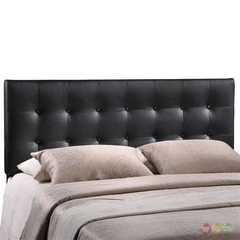 emily modern button tufted faux leather headboard black