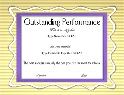 outstanding performance certificate template the gallery for gt outstanding performance certificate
