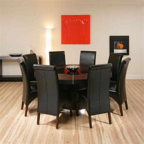 Large Dining Room Tables Seats 10 by Large Round Black Oak Dining Set Table 8 High Back