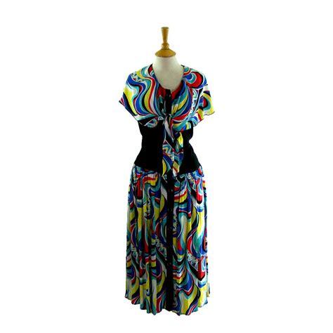 80s multicoloured dress blue 17 vintage fashion