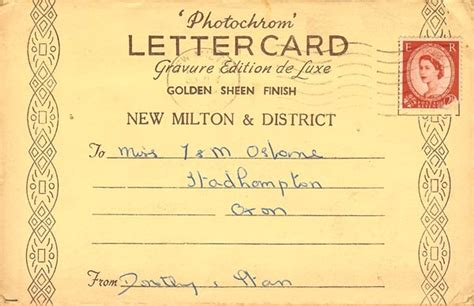 Letter Card Letter Card New Milton An Record
