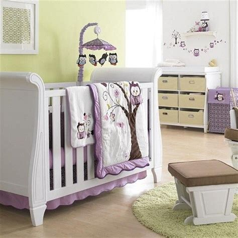 Baby Girl Owl Crib Bedding Pink Birdie Owl Flowers Pcs Purple Owl Crib Bedding