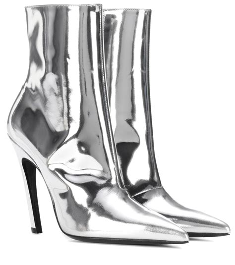 Shoe La La Silver Ankle Boots For by Lyst Balenciaga Slash Heel Leather Ankle Boots In Metallic