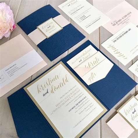 Navy Blue And Blush Wedding Invitations