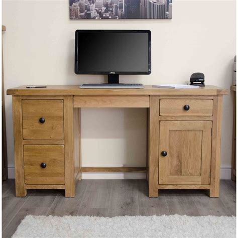 rustic home office desk original rustic solid oak pedestal computer pc desk