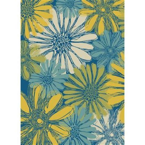 indoor outdoor area rugs home depot nourison home and garden daisies blue 10 ft x 13 ft in indoor outdoor area rug 112583 the
