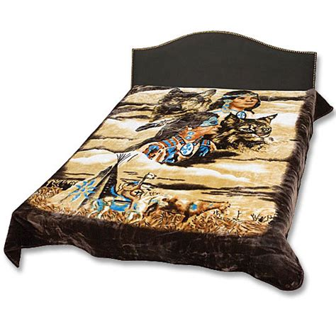 Blanket   Native American Indian Scene   Queen Size   True