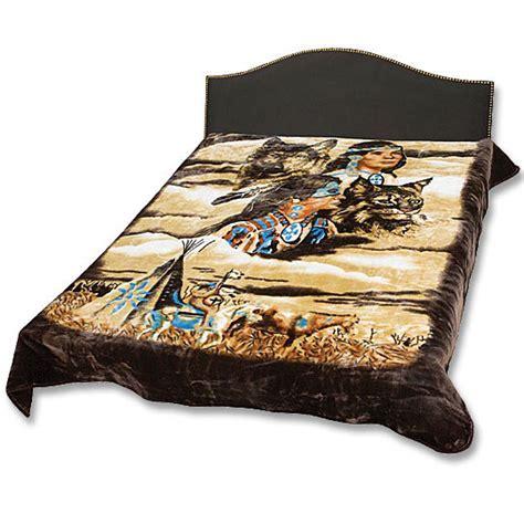 Blanket   Native American Indian Scene   Queen Size   True