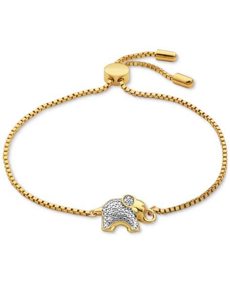 macy s accent elephant slider bracelet in 18k gold