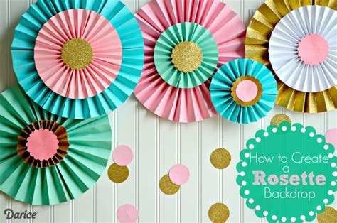 paper flower rosette tutorial how to make paper rosettes birthday backdrop darice