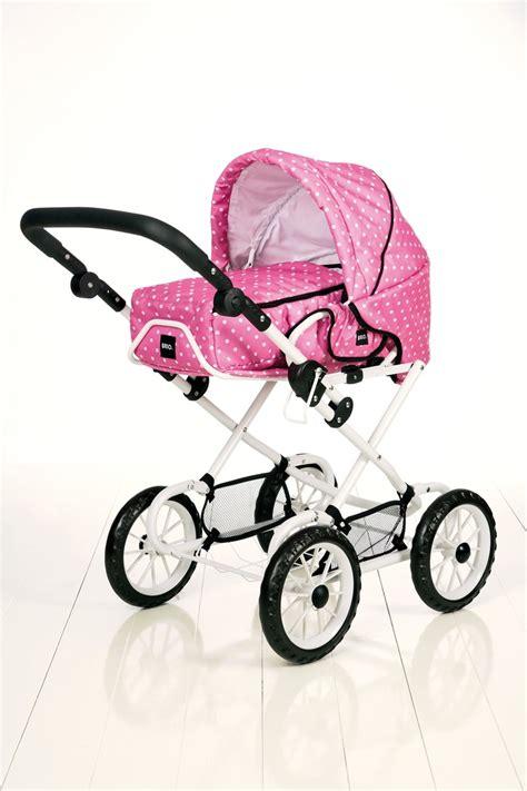 brio childrens pink polka dot dolls pram pushchair ok
