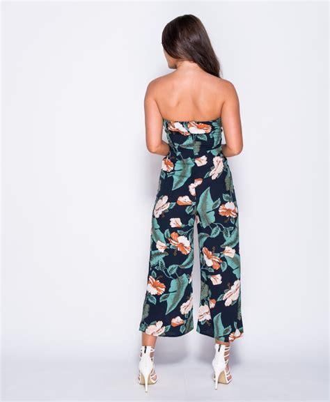 Floral Print Strapless Jumpsuit whoops floral print strapless jumpsuit whoops fashion