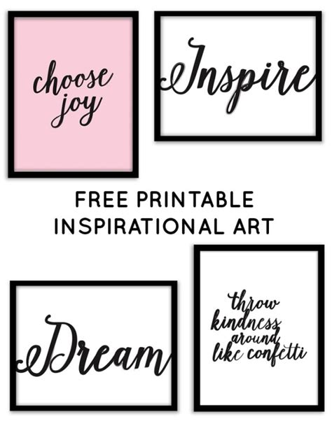 printable art quotes free printable inspirational wall art from chicfetti