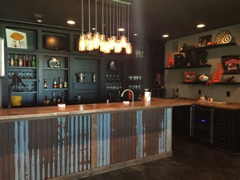 Man Cave Industrial Home Bar Portland By Monica