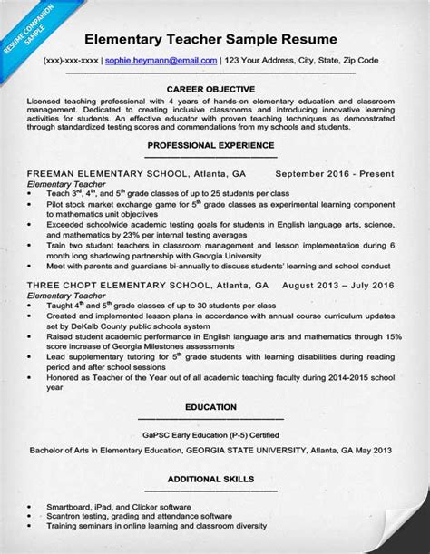 exle of a teachers resume elementary resume sle writing tips resume companion