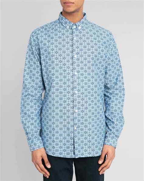 diamond pattern shirt name knowledge cotton apparel diamond pattern chambray shirt in