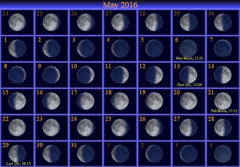 Printable Calendar 2016 With Moon Phases | moon phases may 2016 calendar moon schedule printable