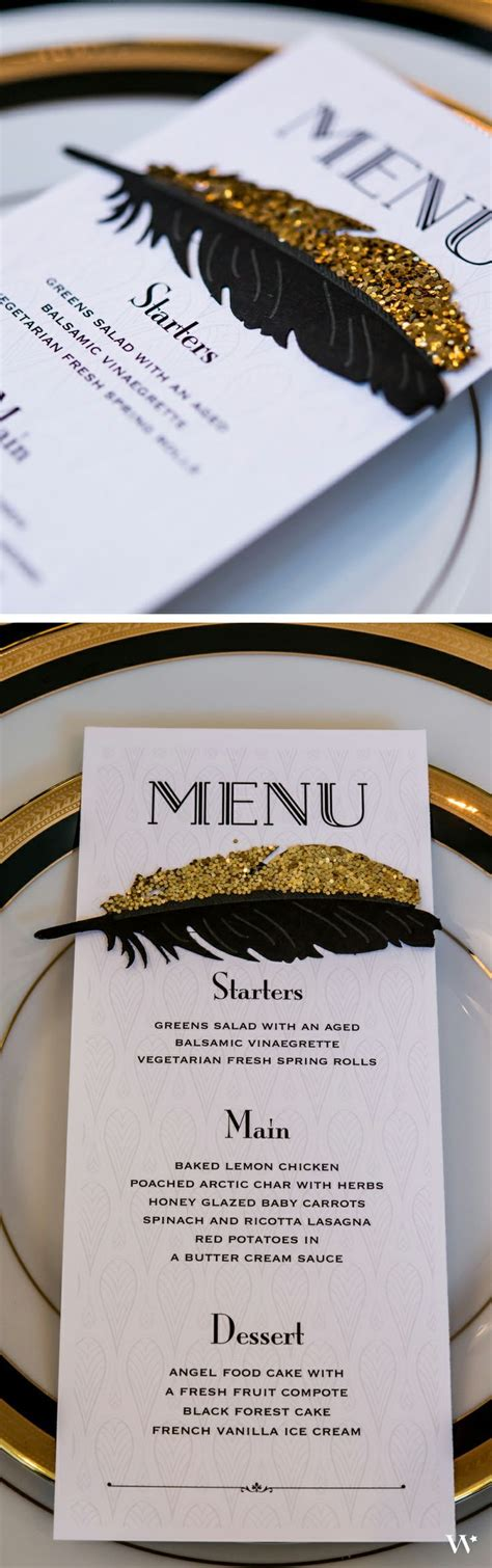 themes new menu style the great gatsby wedding decor inspiration and ideas