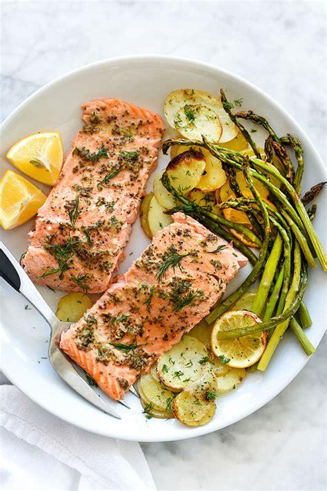 dinner salmon mustard salmon sheet pan dinner foodiecrush