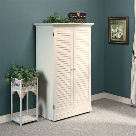 sauder harbor view craft and sewing armoire antique white craft armoire in antique white 158097
