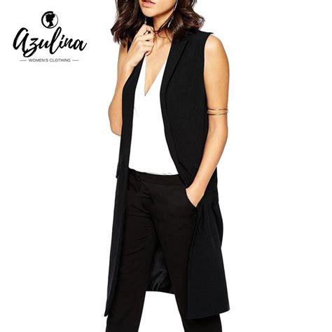 Vest Blazer Black azulina sleeveless blazer vest 2017 autumn vest waistcoat outwear