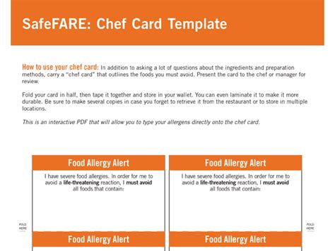 food allergy card template food allergy chef cards food allergy research education