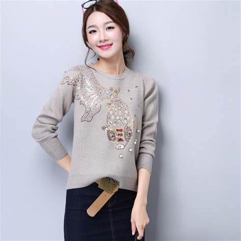 Sweater Cantik Trendy 1 2017 designer womens sweaters knitted colorful beading fish pattern fashion brand