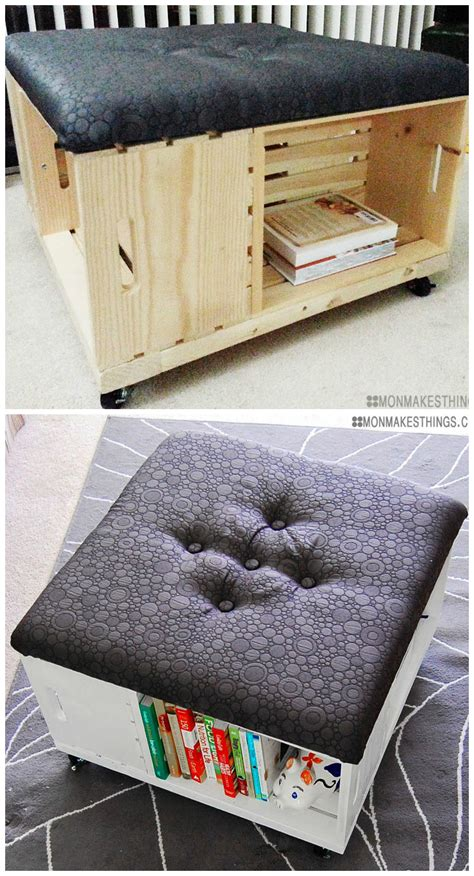 love diy storage ottoman   wooden crates
